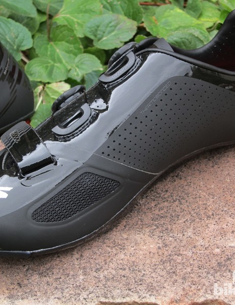 Instead of more conventional stitched construction, the new Specialized S-Works shoes are mostly thermowelded together for a smoother interior and fewer chafe-inducing edges