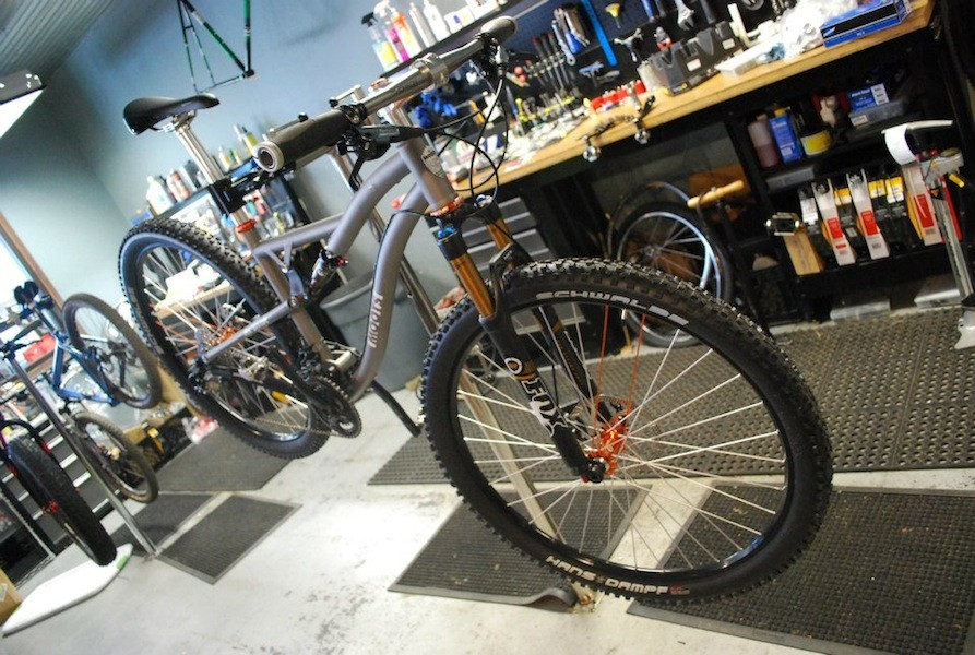 This Moots MX Divide is one many Ti bikes the shop builds for customers