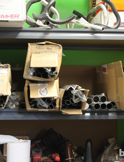 Bicycle frames take up much less space before the tubes are joined together