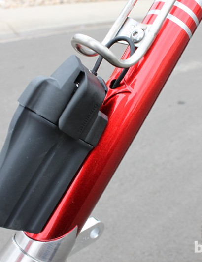 The Di2 battery is mounted directly below the bottle cage