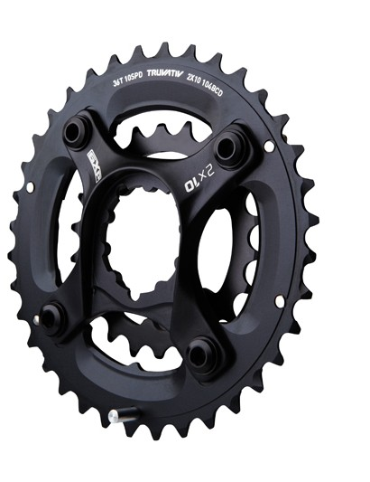 The X9 and X5 cranksets have a lower 104mm BCD to accompany their lower 36/22-tooth gearing