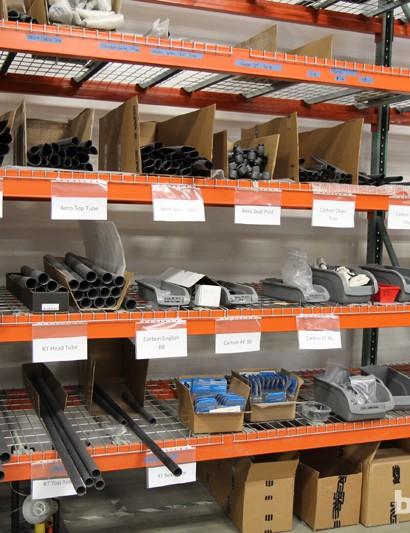 Stock carbon tubes sit on a shelf