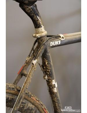Nicole Duke's Alchemy Balius custom carbon 'cross frame still bears the mud from the US 'cross national championship race