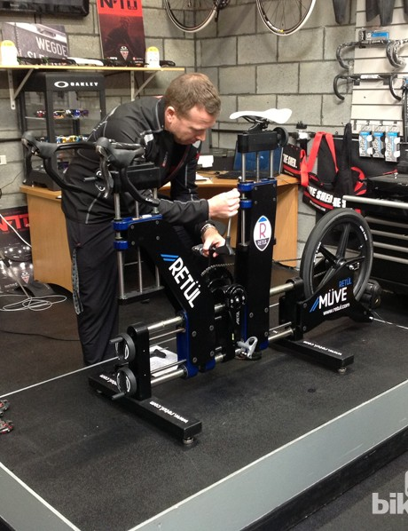 The 3D motion capture bike fitting system Retül is key to the attraction of The Shed. This particular model, the Müve, allows infinite adjustments to be made to position