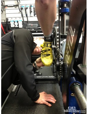 Cleat placement is checked and adjusted if necessary