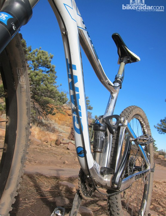 The rear brake is run along the bottom of the down tube out of the box, but there are ports for internal routing should you wish to disconnect the line and rebleed the system