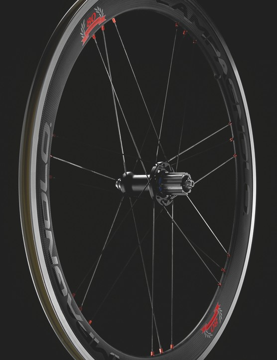Campagnolo 80th Anniversary Collection carbon/aluminum wheelset weighs 1,590g