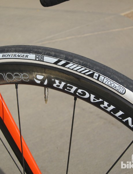 We didn't care much for the Bontrager R3 tires. The stiff casings don't ride very well and the aero profile feels tippy when you ride in a straight line