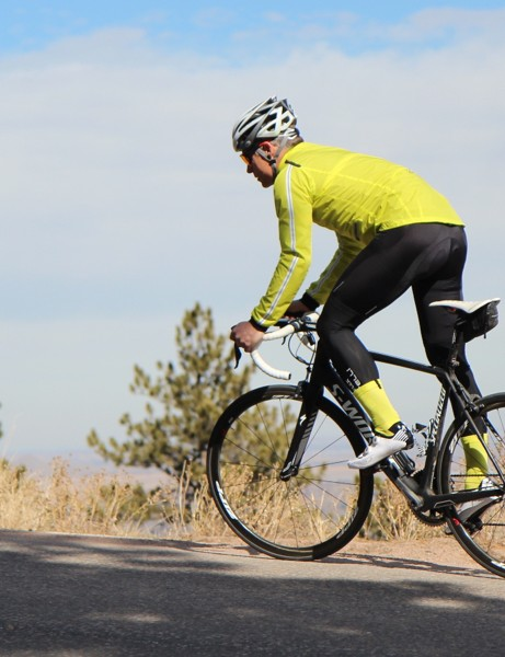 The Rapha Classic Wind Jacket tapers at the rear for a closer fit without elastic