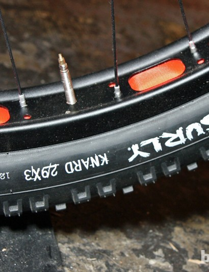 The 50mm-wide Surly Rabbit Hole 29er rims and 3