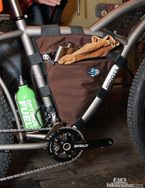 More trail building essentials — leather work gloves and a flask (you know, in case it gets cold)