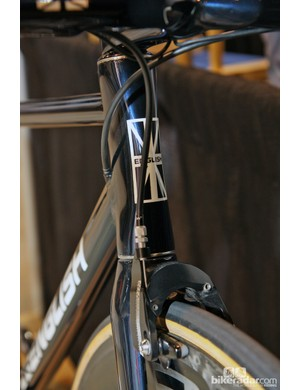The head tube is slightly pinched so as to present a smaller frontal area