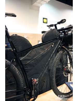 Note how the custom bags (made by Black Rainbow Project) fit perfectly in the frame and also don't use any straps. Braze-ons are built into the main triangle specifically for the bags. Trick