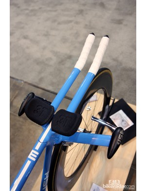 The base bar, aero extensions, stem, and fork are all one complex chromoly steel assembly