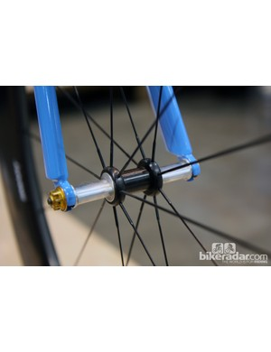 Rob English machined this front hub himself with incredibly narrow spoke flange spacing
