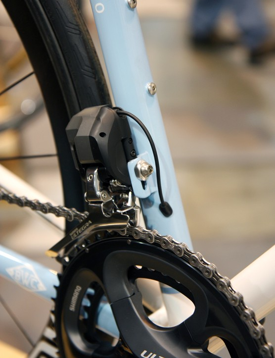 Clean internal Shimano Di2 routing on this Breadwinner Cycles Lola road racer