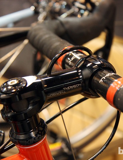 Breadwinner built the front brake housing stop directly into the Thomson stem. We're not sure this will be a stock option, though
