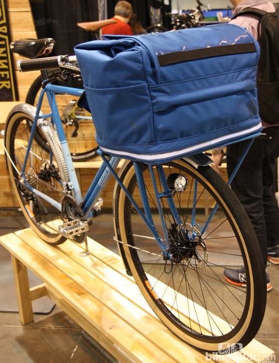 The Blaq Design front rack bag features a strip at the bottom edge that's lit with bright LEDs