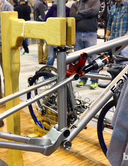 Kent Eriksen Cycles debuted a new full-suspension mountain bike frame at this year's NAHBS. Rear travel is set at 90mm and it's scalable for 26