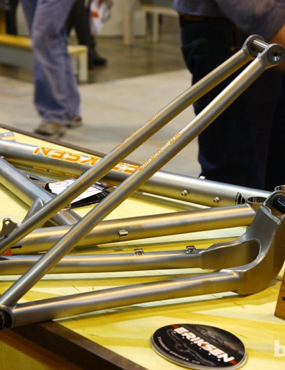 The rear end of Kent Eriksen's new full-suspension frame is ultra-stout