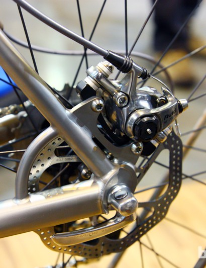 An Avid BB7 Road SL mechanical disc brake is bolted to Paragon titanium tabs