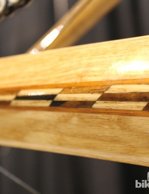 Inlay work on an ash chain stay