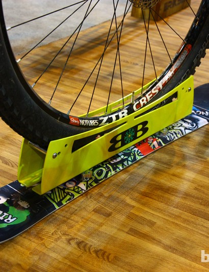 Bike Boards attach to just about any mountain bike tire to add seemingly impressive capabilities on snow