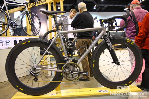 This year's NAHBS was somewhat of a coming-out party for Boulder, Colorado builder Aaron Barcheck and his Mosaic Cycles brand. Though in business for several years, his gorgeous titanium and steel bikes really drew serious attention this year