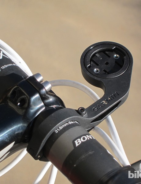 The Garmin Out-front mount keeps Edge computers out in front of the bar as well as in-line with the stem for optimal viewing