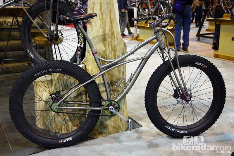"Black Sheep built this snow bike around 45NRTH's massive 4"" wide Escalator tires"