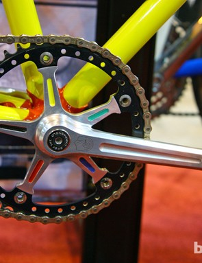 Check out the paint detailing - and the drilled-out chainring - on this Campagnolo crank