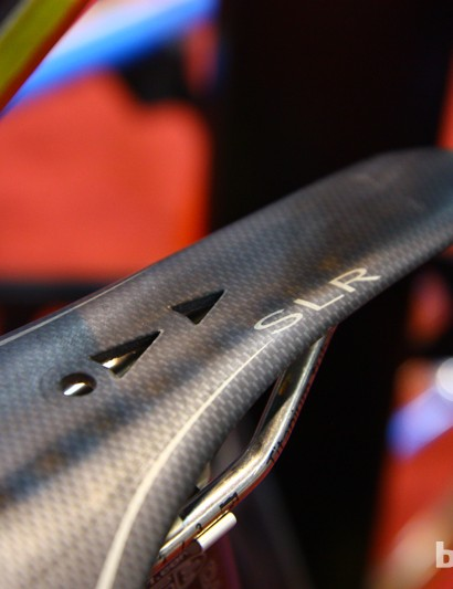 Tiny cutouts in the Selle Italia SLR saddle shell on Rich Gängl's personal track bike