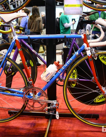 Rich Gängl built this bike in 1985 with Reynolds 753 steel tubing to celebrate the 1986 world championships being held in Colorado Springs, Colorado