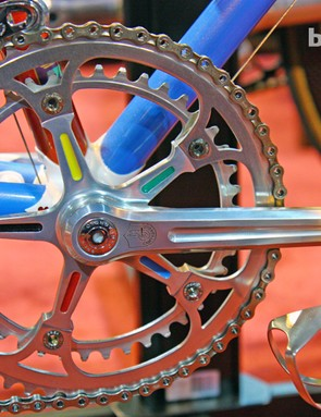 World championship accent colors on this Campagnolo crank
