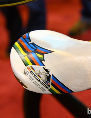 Commemorative world championship stripes on this Selle San Marco Rolls saddle