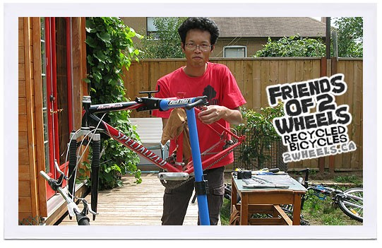 A student works to earn a bike through Friends of 2 Wheels