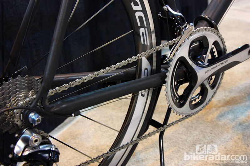 Huge 1in-diameter chain stays on Bill Walton's titanium Holland Cycles road bike