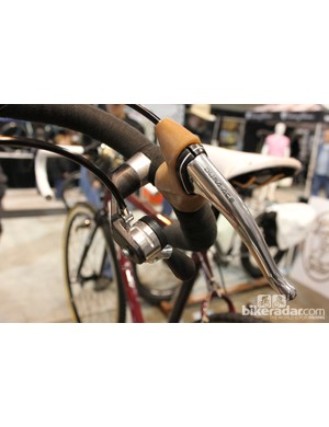 Dura-Ace brake levers and 6-speed thumbshifters mounted via WTB multi-mounts