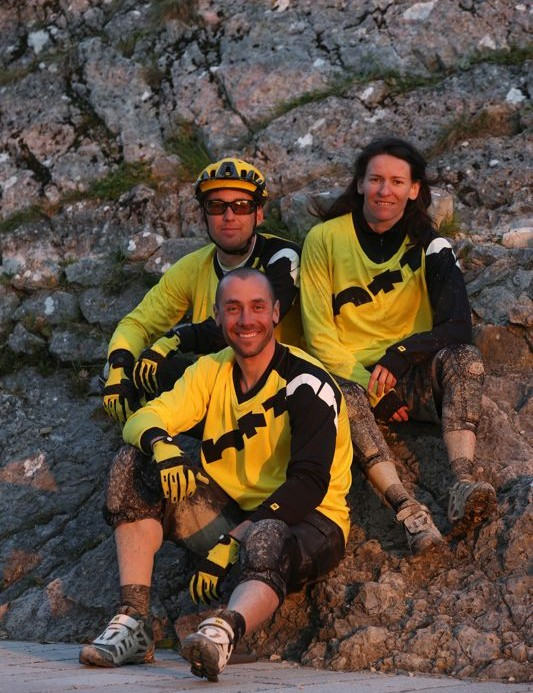 Sponsored Mavic riders including Fabien Barel (front), Jerome Clementz and Anne Caroline Chausson helped design the new Notch range