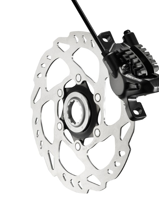 Shimano BR-M615 brake caliper complete with SM-RT68 rotor and Ice Tech pads