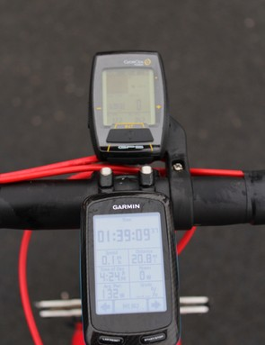For comparison, the Garmin Edge 800 is substantially larger, but also more legible