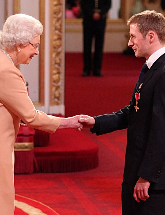 Sprint star Jason Kenny being awarded his OBE