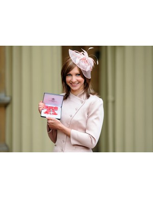 Joanna Rowsell shows off her MBE