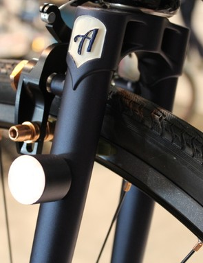 In another nod to practicality, a light mount sits high on the fork leg