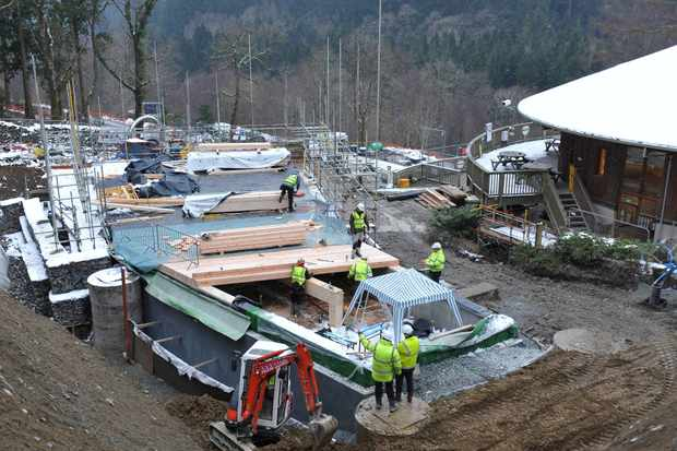 The Coed y Brenin Forest Park visitor extension is still a building site