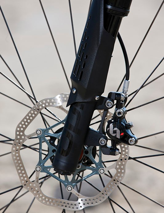The front brake is an Avid XX World Cup with 160mm rotor