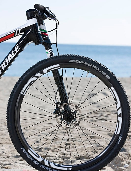 There is a Schwalbe Racing Ralph 2.1 tire on the front