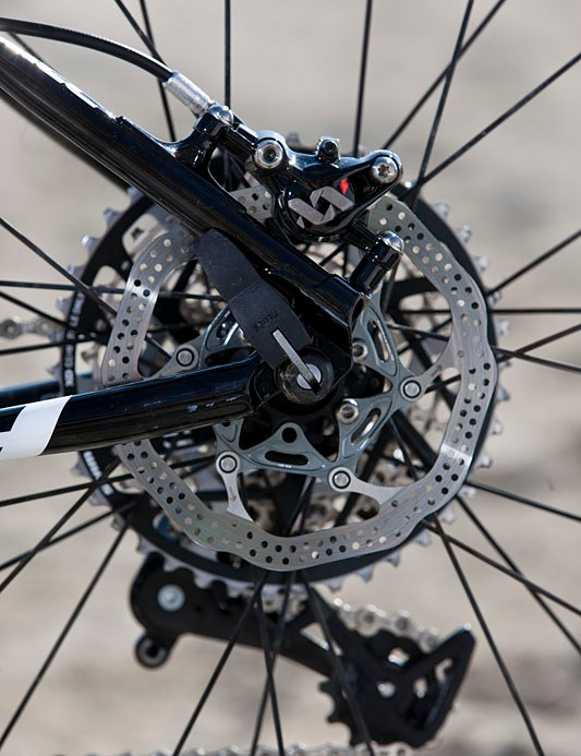 The SRAM XX World Cup rear brake works on a 140mm rotor