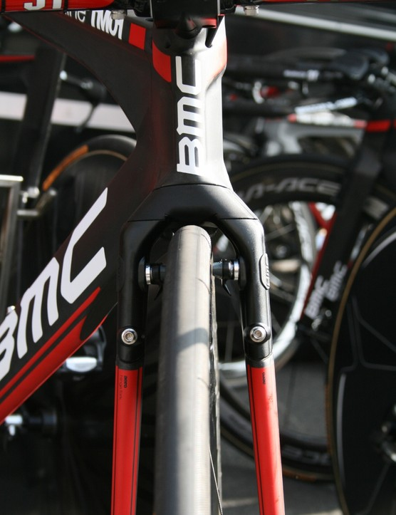 The BMC's flagship TimeMachine has the brakes integrated into the fork –aero