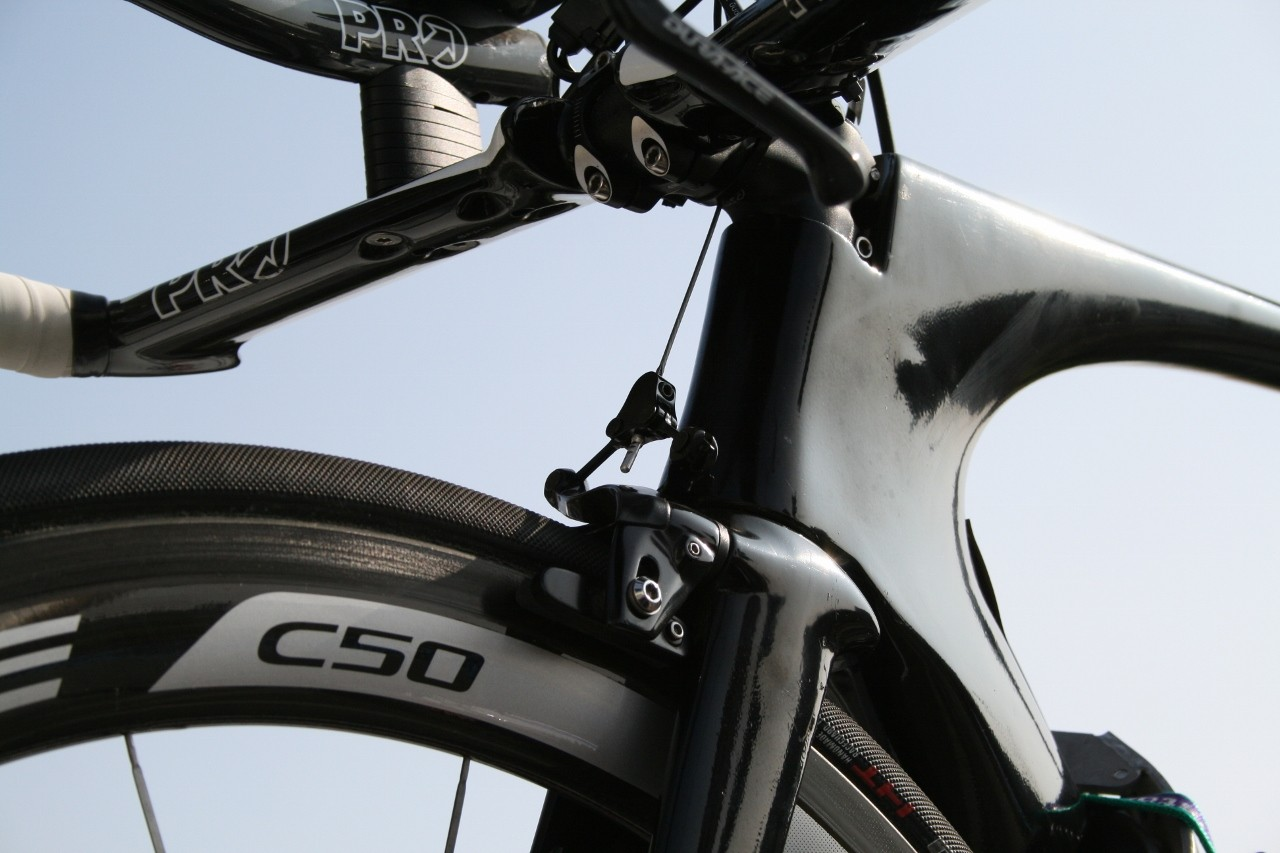 This blacked-out FDJ TT rig carries a cantilever front brake